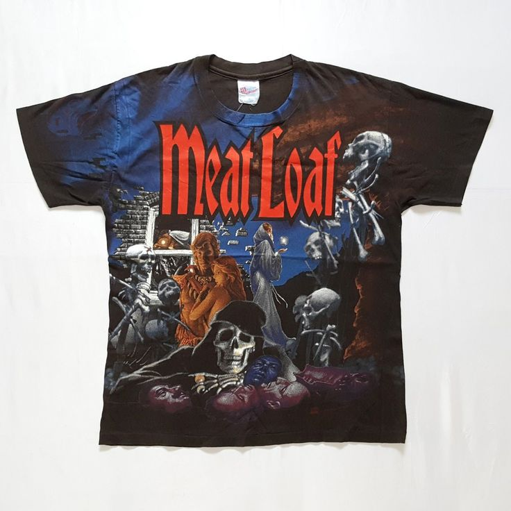 Vintage Meat Loaf 1994 Heaven Can Wait Concert Tour T-Shirt  http://www.ebay.com/itm/-/152437569693  #Vintage #90s #MeatLoaf #HeavenCanWait #Concert #Tour #T #Shirt #Large #USA #Original #HeavyMetal #Rock #Band #Rare #Neverland #Men #AllOverPrint #Tee #Metal