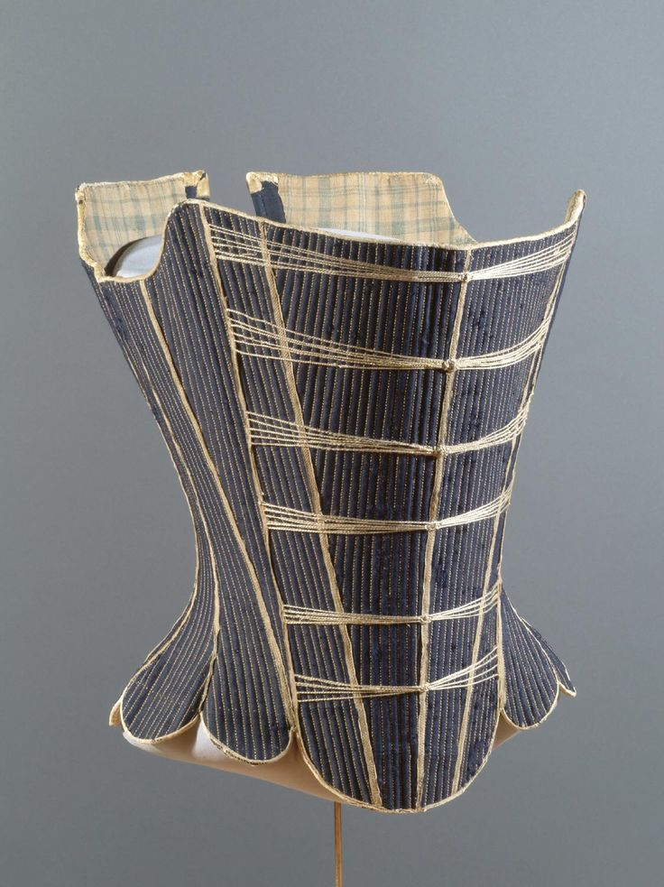 Stays, Probably England or United States, c. 1725-1750. Blue glazed wool twill, buckram, linen thread, baleen, leather, linen tape, two-ply linen cord wrapped in silk, checked linen plain weave lining.