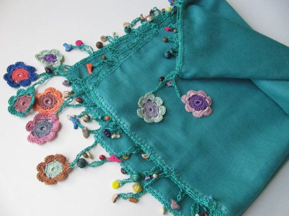 90x90 cm 36x36 inc soft cotton, square scarf. Good for all seasons.. % 100 cotton........ The bead and lace materials handiwork made as flowers with crochet needle Usable as bandana or necklace Modern, comfort and different scarf would be a special gift for you or somebody else. Orders are sent by Airmail Service with tracking info. Please hand wash below 30 degrees