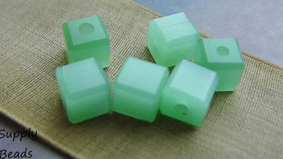 Minty Ice Cube Czech Beads Bead Supplies by SupplyBeads on Etsy