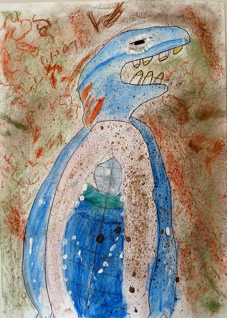 Bunyip in the Waterhole - imaginative drawing looking at stories of bunyips. Layered mixed drawing media: pencil, pastel, ink, paint. Year 3