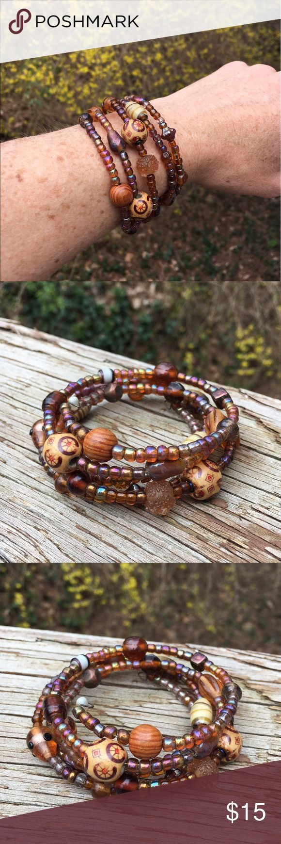 Handmade Tribal Infinity Bracelet OS Handmade brown rainbow sheer tribal infinity bracelet  Will fit any size wrist!  I will send this off with a gift bag and bubble wrap packing to ensure it's safe journey to you! Jewelry Bracelets