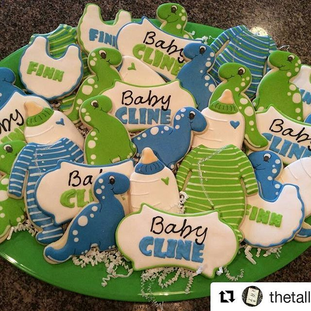 How Stinking Cute Are These Dinosaur Baby Shower Cookies! Get Your Matching Dinosaur  Baby Shower