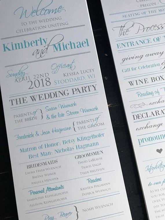 wedding programs sky blue silver custom wedding program design