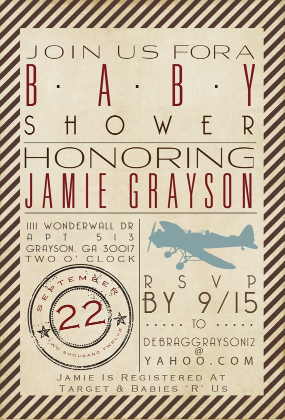 Printable - DIGITAL FILE ONLY - Red, Brown, Tan - Vintage Airplane themed baby shower invitation.