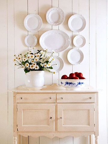Glass knobs and cute plate display!