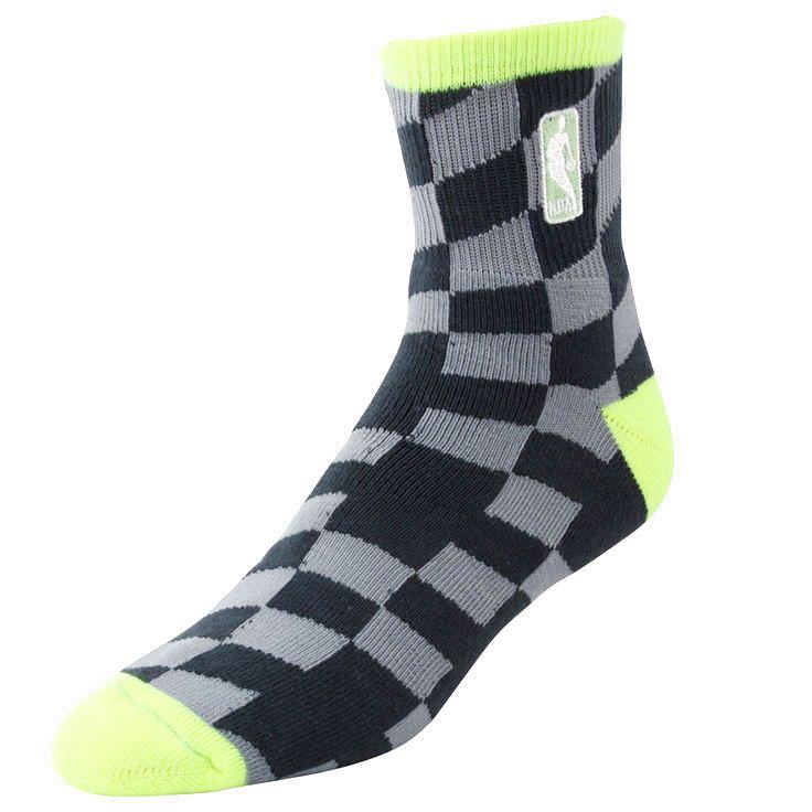 NBA Logo Champion Socks - Charcoal/Neon Green - $8.54