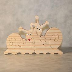 """Puzzle chantourné en bois massif """" escargots amoureux """""""