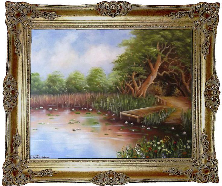 Waldsee Landschaft Original moderne Ölmalerei Handmalerei Ölgemälde kaufen
