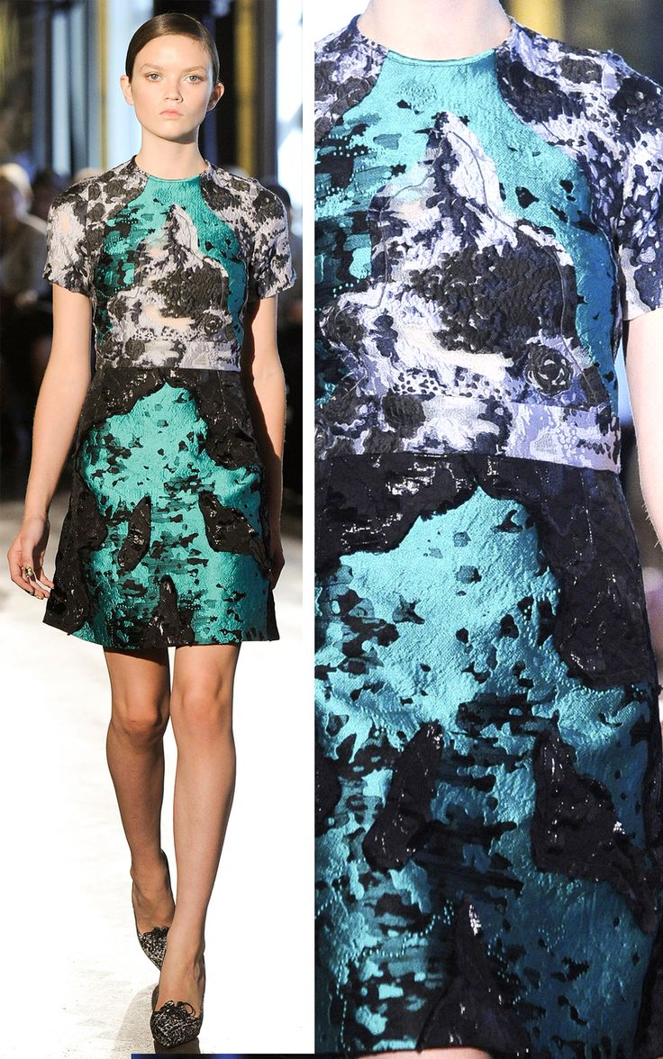 Abstract Surfaces - high contrast dress in vivid blue & black - print & pattern fashion; textured surfaces // Michael van der Ham