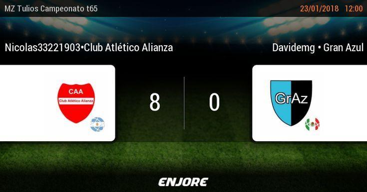 MZ Tulios Liga t65 - 12° jornada • Nicolas33221903*Club Atlético Alianza 8 - 0 Davidemg * Gran Azul https://www.enjore.com/es/match/6753824/nicolas33221903club-atletico-alianza-davidemg-gran-azul/