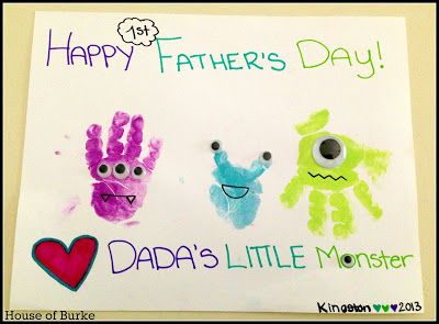 Dada's Little Monster Handprint Father's Day Craft - House of Burke