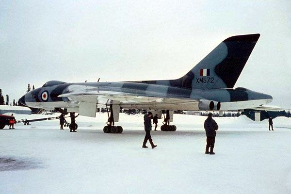 Avro Vulcan B2 Blue Steel XM572 of the Scampton Wing at Goose Bay in March 1965. 572 has not yet received its in-flight refuelling probe and probably received it during a retrofit and conversion to the free-fall role in 1966.