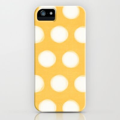 painted polka dots- yellow iPhone & iPod Case by her art