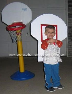 Basketball Goal Costume: I asked my 3-year old what he wanted to be for Halloween and he promptly said a basketball goal! I thought, well that is a silly idea but as my co worker