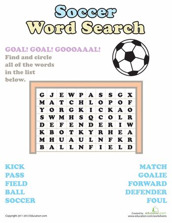 Word Search Soccer For the Boys Soccer crafts, Kids soccer