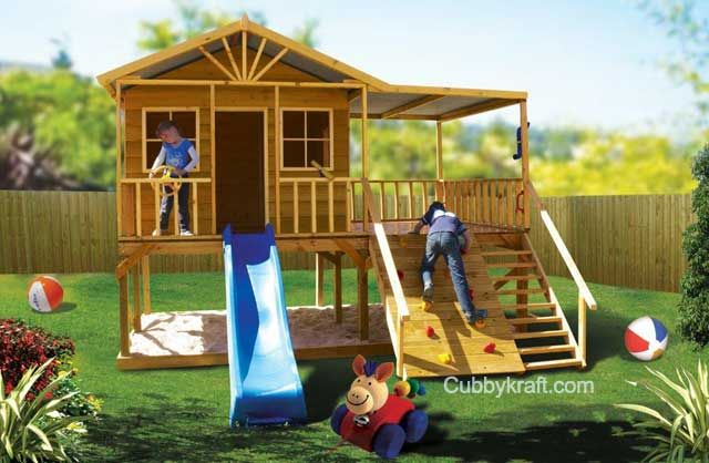 Redwood Lodge Playhouse Outdoor Playground Equipment