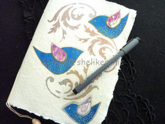 Colourful bluebirds Journal pocketbook notebook Planner
