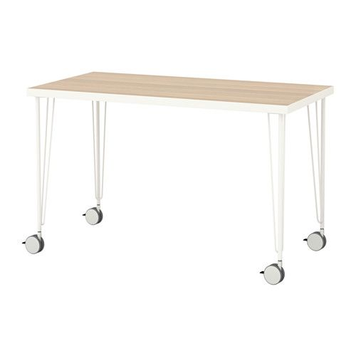 IKEA - LINNMON / KRILLE, Table, , Lockable casters make the table easy to move and lock in place.Pre-drilled leg holes for easy assembly.Board-on-frame is a strong and lightweight material with a frame in wood, particleboard or fiberboard and a recycled paper filling. It requires less raw materials and is easy to transport, which reduces the environmental impact.