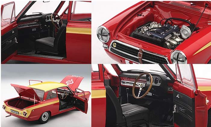 Ford Cortina MkI Lotus (Sir John Whitmore - Class Winner Budapest Nagydij 1964) Diecast Model Car