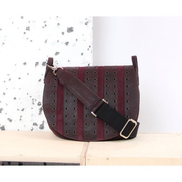 Saddle leather bag with rivets (525 PLN) ❤ liked on Polyvore featuring bags, handbags, shoulder bags, purple purse, leather shoulder bag, genuine leather shoulder bag, purple shoulder bag and leather saddle bag purse