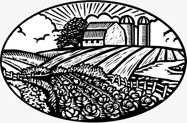 Black And White Decorative Farmland Illustration Icon Png And Clipart Farm Art Barn Art Scene