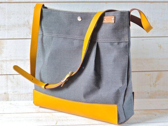 Waterproof  Messenger Bag / Diaper bag / Travel bag / Black Gray Striped Large Purse / Mustard Leather strap handbag /waterproof / Fashion