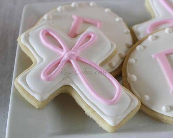 Cross Cookies: Baby Girl Baptism Cake, Cookies and Cake Pops
