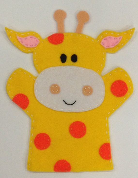 Giraffe Hand Puppet on Etsy, £7.00....possibly use as pattern