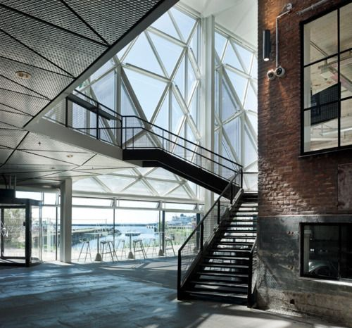 LOVE the geometry of the windows here. Looks very much like a geodesic dome structure