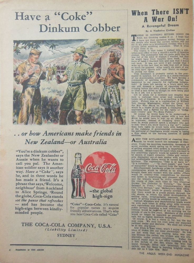 2x COKE COCA COLA WW2 DIGGERS AD 1945 original vintage AUSTRALIAN advertising  Shows Australian & New Zealand soliders in 1940s military fashion. Displaying 1940s vintage retro coke bottle and logo.