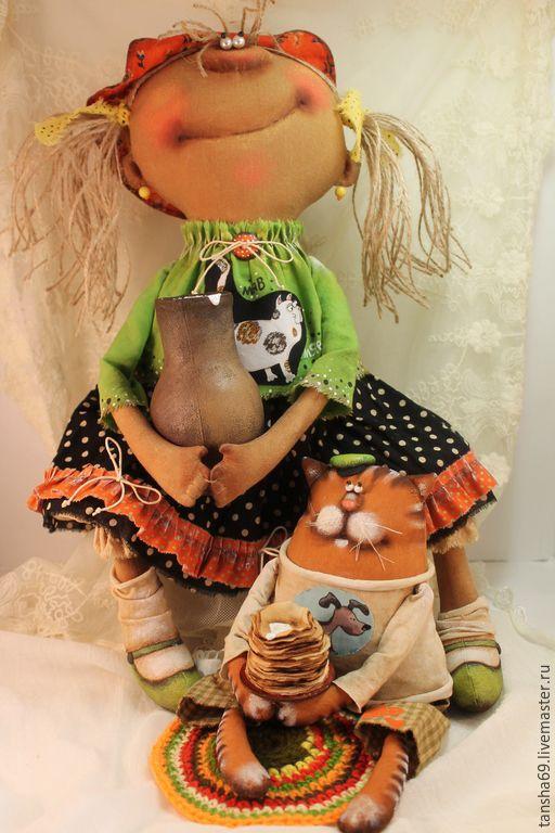 Купить В гостях у бабушки! - разноцветный, текстильная кукла, ароматизированная кукла, интерьерная кукла, котик
