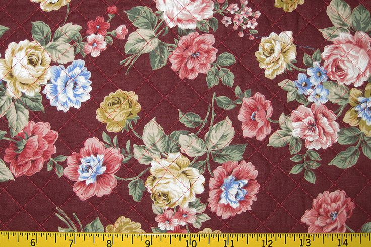 Pre Quilted Fabric Half Meter Cut Roses Design Burgundy by MrsStitchesDesigns on Etsy