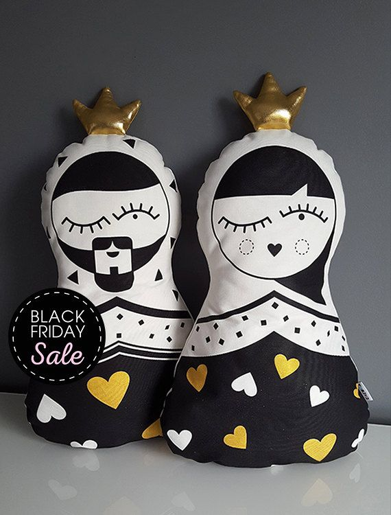 Heart King and Queen Pillows the perfect wedding gift Custom pillow Home and Living Christmas gift black and white home decor Russian doll by KAKUMAstore on Etsy