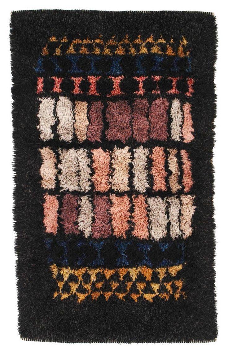 Arne Lindaas; Hand-Knotted Wool 'Window' Rya Rug for Sellgren, 1959.
