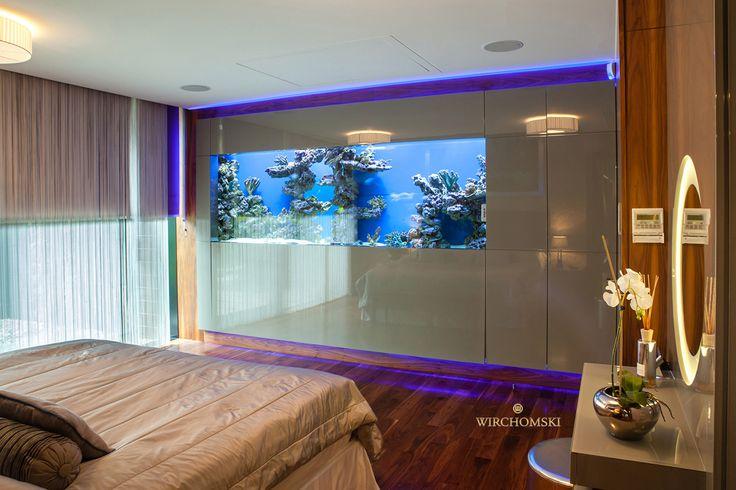 sypialnia, bedroom, rezydencja, residence, akwarium morskie, sea aquarium