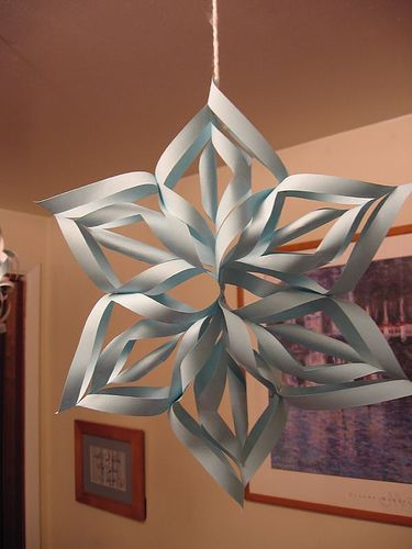 Last year I made these paper snowflakes. So cute and easy to make. Click here for instructions: http://www.youtube.com/watch?v=Dd24LcZ0iAs