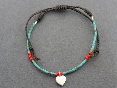 turquoise bead bracelet - heart