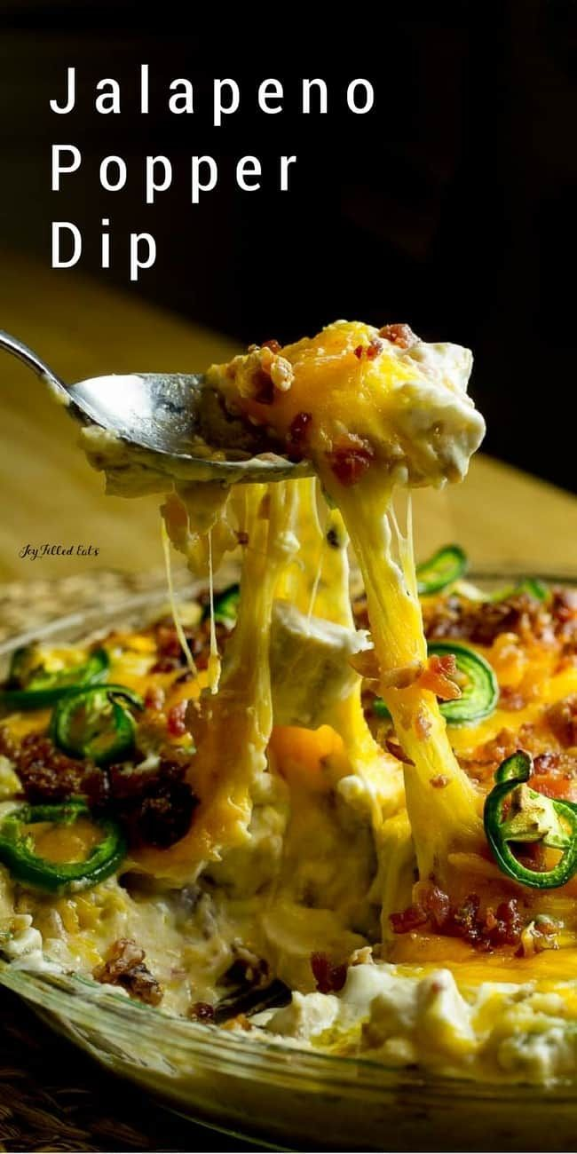 Jalapeno Popper Dip - Low Carb, Keto, THM S, Gluten-Free, Grain-Free. My Jalapeno Popper Dip is creamy, cheesy, loaded with bacon, & has as much heat as you want. Filled with chicken for protein or cauliflower to boost your veggies. It is delicious either way.
