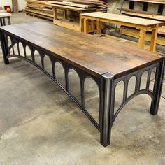 42 desk with a 10' walnut top by Vintage Industrial Furniture