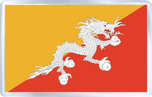 $3.29 - Acrylic Fridge Magnet: Bhutan. Flag of Bhutan