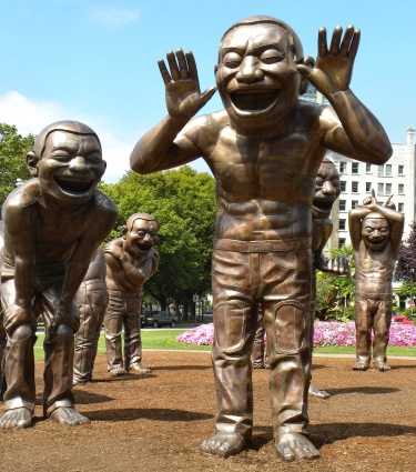 Laughing Men statues  Vancouver, BC. CanadaA Maze Laughter, Favorite Places, Yue Minjun, Artists Yue, A Maz Laughter, Vancouver Canada, Bay Beach, English Bays, Bays Beach