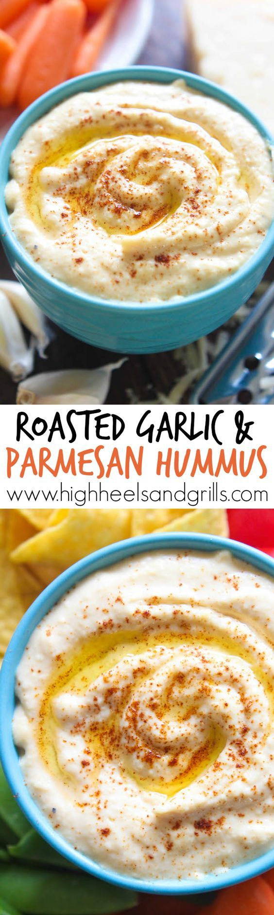 Roasted Garlic Parmesan Hummus - This hummus is great for a party appetizer or a side dish at dinner. Dip vegetables, tortilla chips, pita crackers, or pretzels for the perfect snack!
