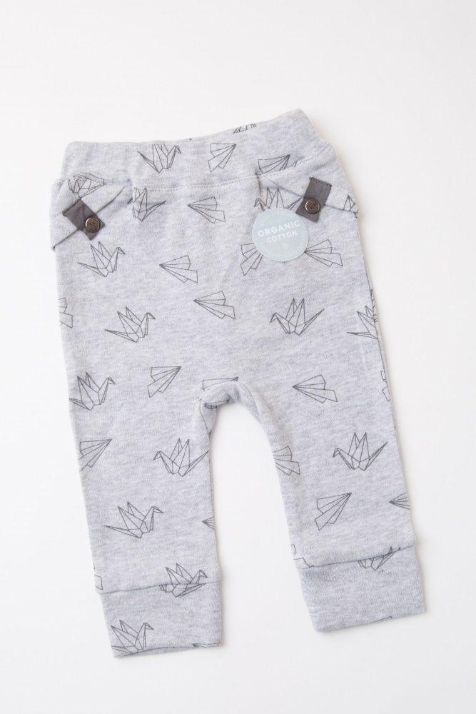 d83e2de9707d Heather Grey Origami Print Baby Pants