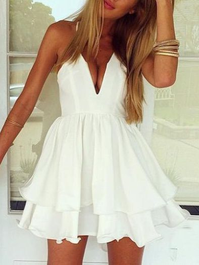 White Spaghetti Strap Two-layer Skater Dress