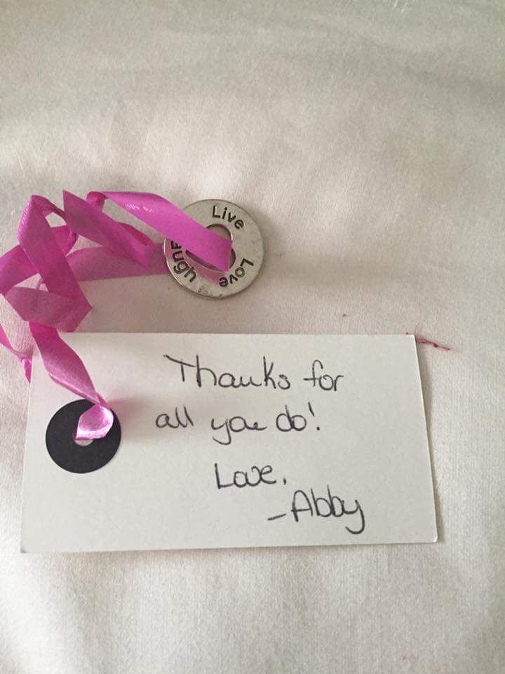 Thank you card with trinket attached Best