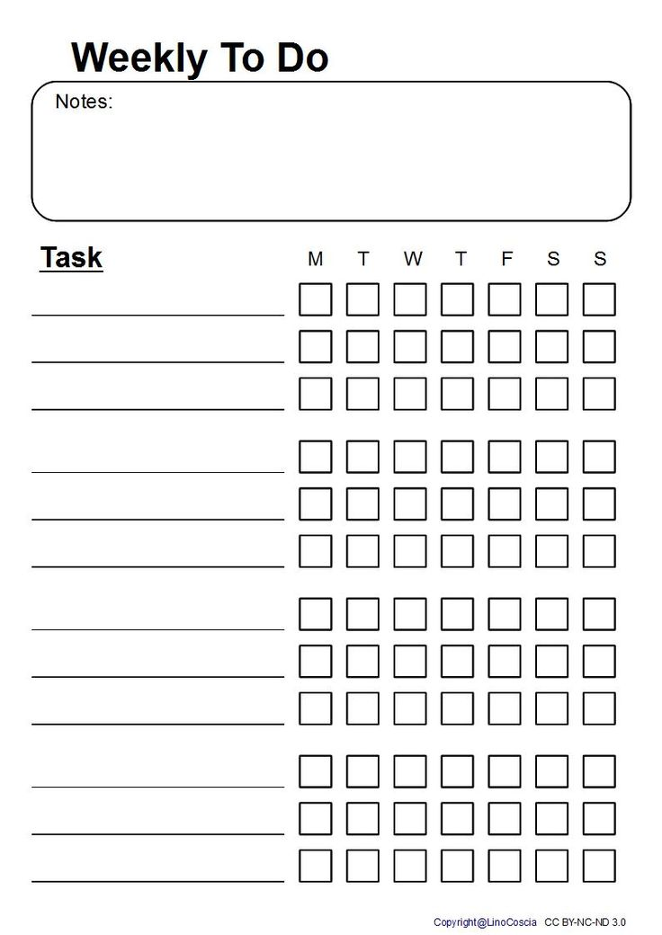 Free Printable To Do List for Daily Returning Tasks