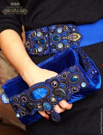 """Купить пояс-резинка """"Для королевы""""(2 варианты ) - синий, орнамент, пояс женский"""