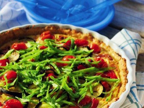 Sesampaj med getost och grönsaker