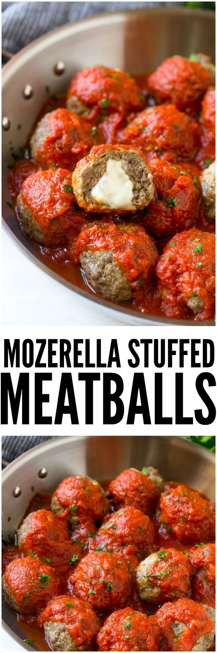 Mozzarella Stuffed Meatballs are a fun twist on the classic recipe - serve these meatballs as a party appetizer or over a big plate of spaghetti for a hearty meal!: